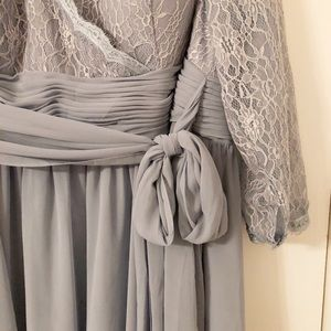 Plus size Floor length dusty blue bridesmaid dress